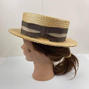 VTG Stetson Straw Boater Hat Size 7 Vintage 50s Rare Hat